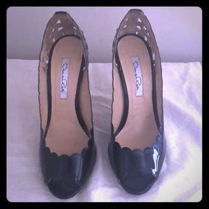 Patent leather open toe pump